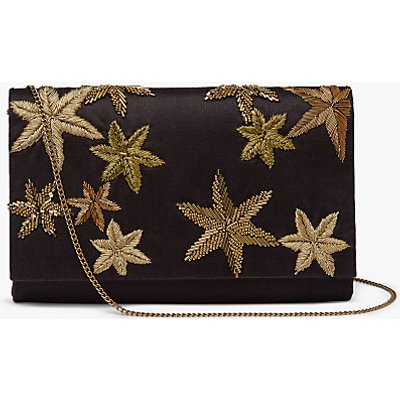 John Lewis Starr Envelope Clutch Bag, Black/Gold