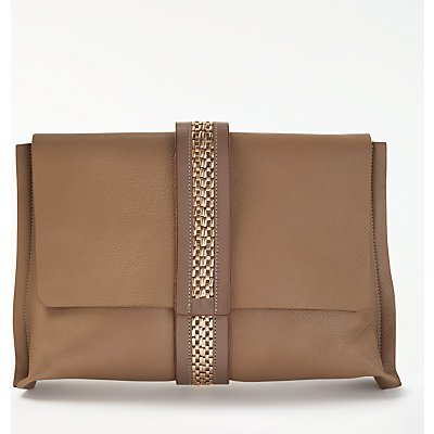 Modern Rarity Lee Leather Clutch Bag, Taupe