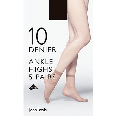 John Lewis 10 Denier Ankle Socks, Pack of 5