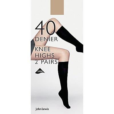 John Lewis 40 Denier Knee Highs, Pack of 2