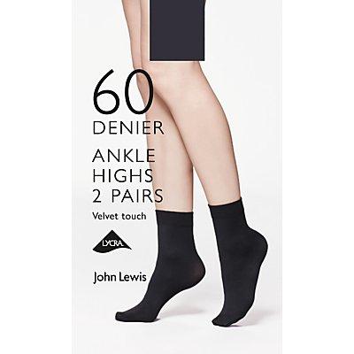 John Lewis 60 Denier Velvet Touch Ankle Socks, Pack of 2, Black