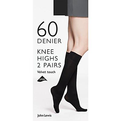 John Lewis 60 Denier Velvet Touch Knee High Socks, Pack of 2