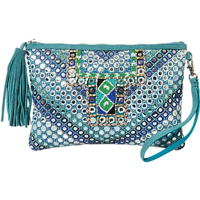 East Mirror Embroidered Suede Clutch Bag, Turquoise