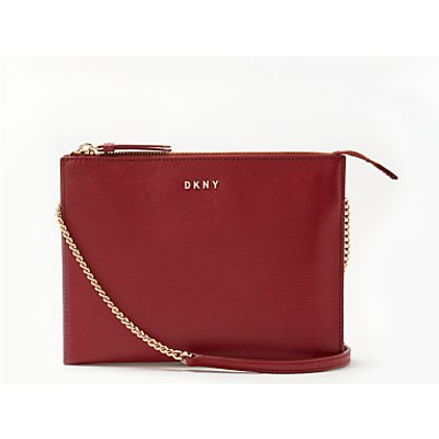 DKNY Sutton Textured Leather Flat Zip Across Body Bag
