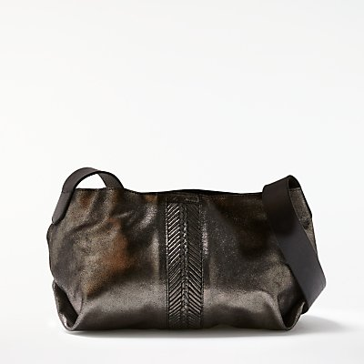 AND/OR Shadi Leather Slouch Across Body Bag, Gunmetal