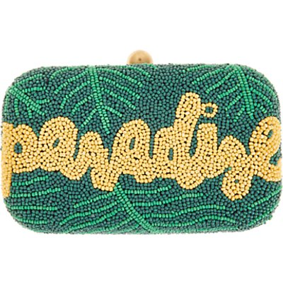 From St Xavier Paradise Box Clutch, Green/Yellow