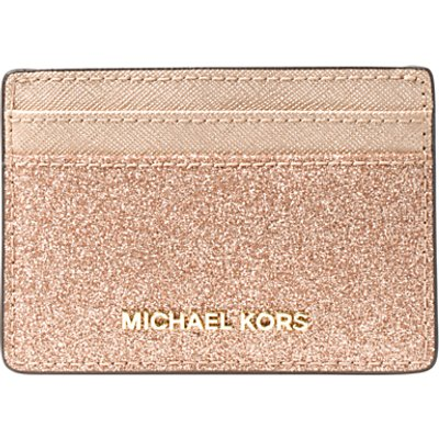 MICHAEL Michael Kors Jet Set Travel Metallic Leather Card Holder  Rose Gold