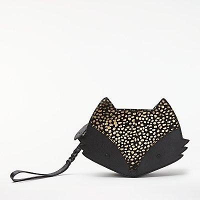 bell&fox Fox Pebbled Leather Cross Body Bag, Black Pony/Gold