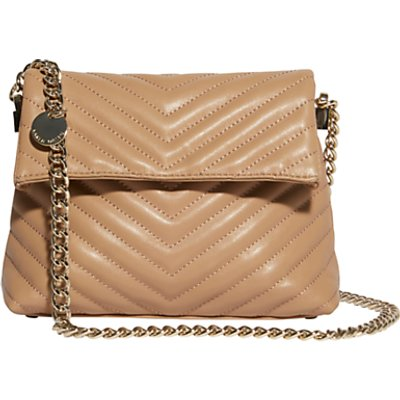 Karen Millen Regent Leather Quilted Shoulder Bag, Nude