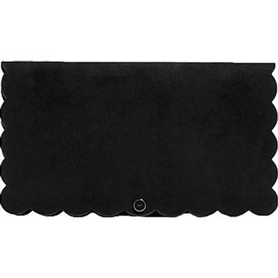 Karen Millen Suede Scalloped Clutch Bag, Black