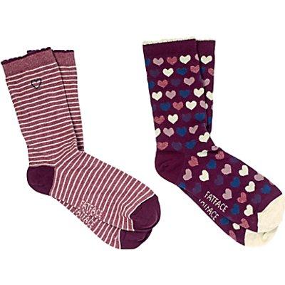 Fat Face Heart Ankle Socks, Pack of 2, Multi