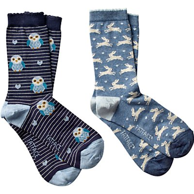 Fat Face Woodland Animal Ankle Socks, Pack of 2, Multi