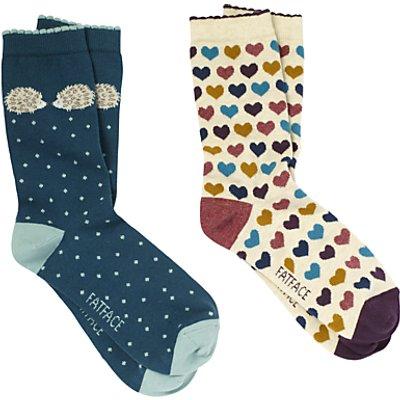 Fat Face Cotton Hedgehog Heart Ankle Socks, Pack of 2, Multi