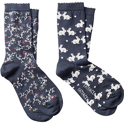 Fat Face Cotton Floral Bunny Ankle Socks, Pack of 2, Multi