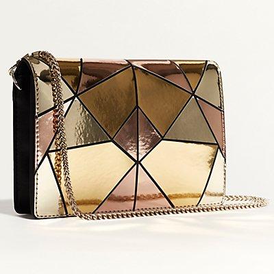 Karen Millen Metallic Patchwork Shoulder Bag, Multicolour