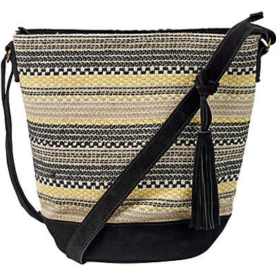 Fat Face Broken Stripe Woven Across Body Bag, Black