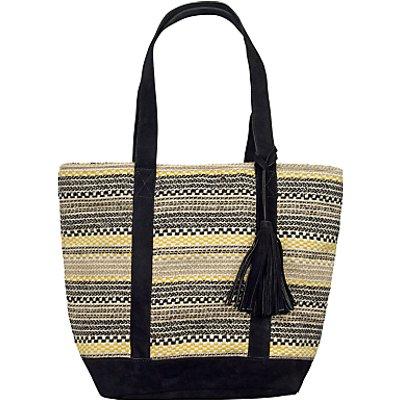 Fat Face Broken Stripe Woven Shopper Bag, Black