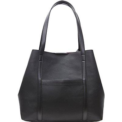 French Connection Saffiano Julia Shopper Bag, Black/Silver