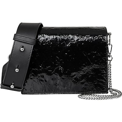 AllSaints Shiny Black Zep Shoulder Bag, Black
