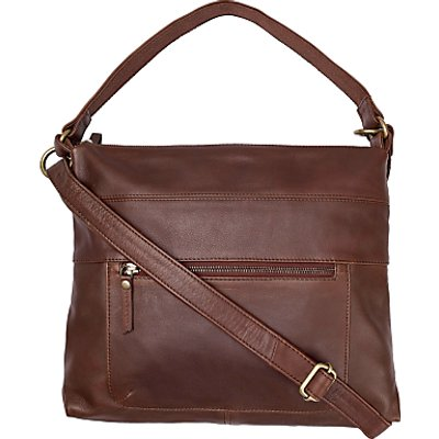 Fat Face Sally Leather Shoulder Bag, Chocolate