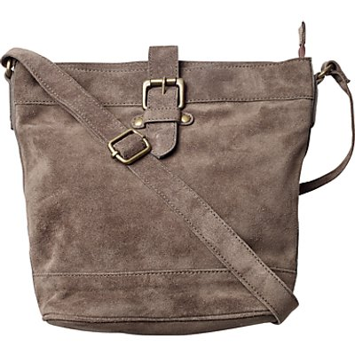 Fat Face Suede Frankie Across Body Bag, Charcoal