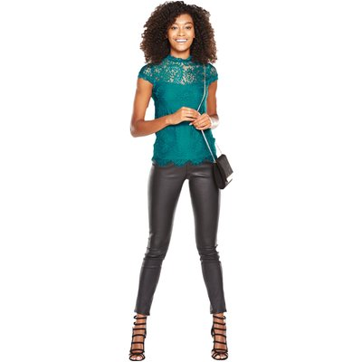 V By Very High Neck Lace Front Top