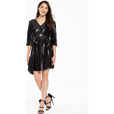 V By Very Sequin Wrap Dress