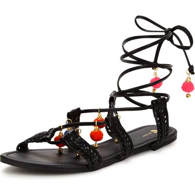 V by Very Hippie Pom Pom Trim Sandals