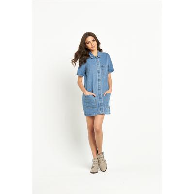 Vila Logy Short Sleeved Denim Tunic Dress