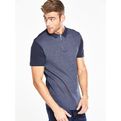 V by Very Short Sleeved Collar Ribbed Polo Shirt