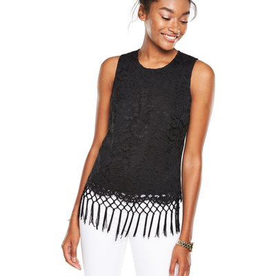 V By Very Lace Fringed Sleeveless Top