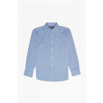 Checked And Striped Cotton Shirt - light blue