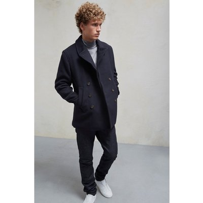 Melton Double Breast Peacoat - marine blue