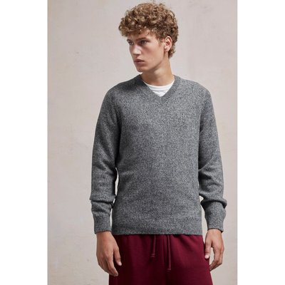 Lambswool Elbow Patch Jumper - charcoal twist/black
