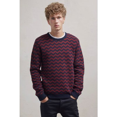 Zig Zag Lambswool Crew Neck Jumper - bordeaux/marine blue