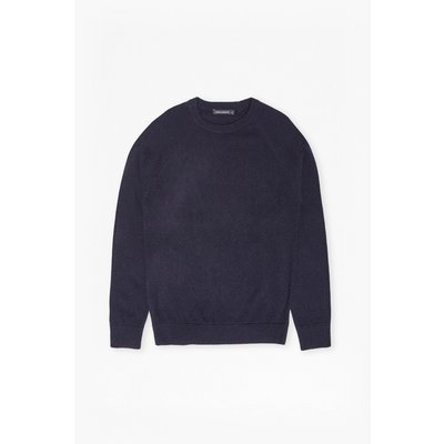 Lambswool Needle Punch Jumper - marine blue/tartan