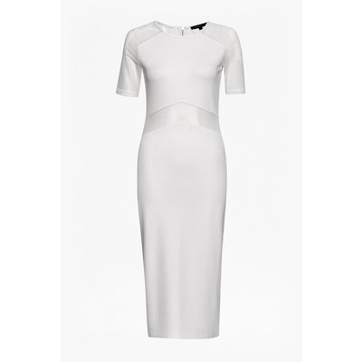 Arrow Mesh Fitted Dress - summer white