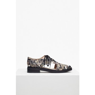 Mazin Cut Out Leather Brogues  - olive print
