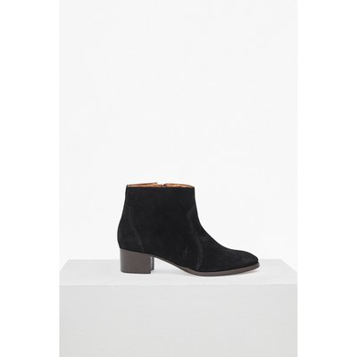 Katy Suede Western Ankle Boots - black