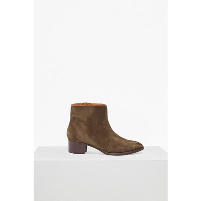 Katy Suede Western Ankle Boots - desert palm