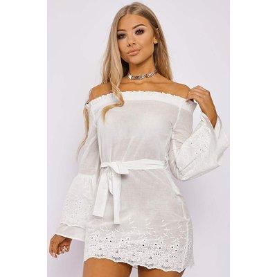 White Dresses - Billie Faiers White Flared Sleeve Crochet Bardot Dress