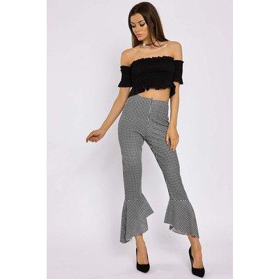 Black Trousers - Josie Black Gingham Frill Hem Trousers