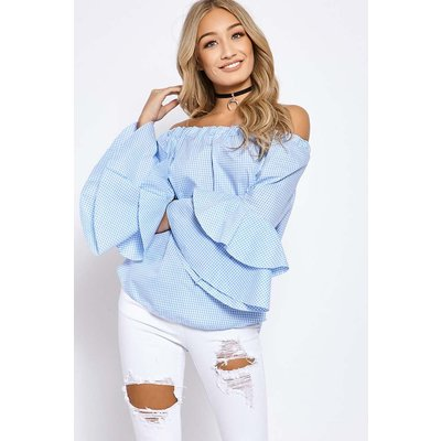 Blue Tops - Sandria Blue Gingham Frill Sleeve Bardot Top