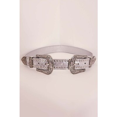 Silver Belts - Silver Studded Double Buckle Western Belt