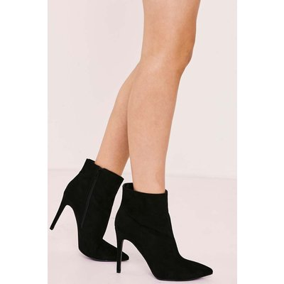 Black Boots - Shaila Black Faux Suede Heeled Ankle Boot