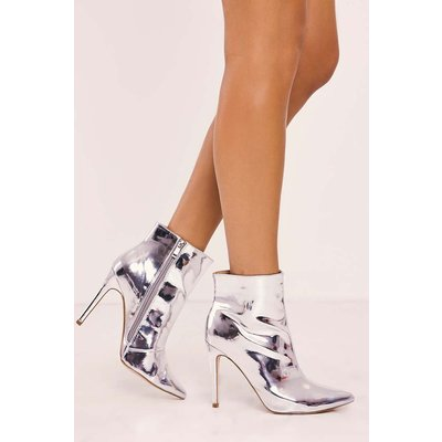 Silver Boots - Sheina Silver Heeled Ankle Boot