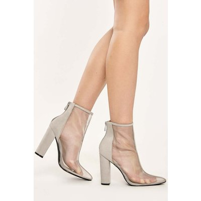 Grey Boots - Abbey Grey Mesh Front Faux Suede Heeled Ankle Boots