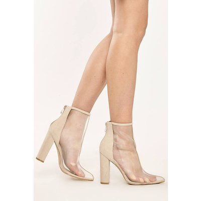Nude Boots - Abbey Nude Mesh Front Faux Suede Heeled Ankle Boots