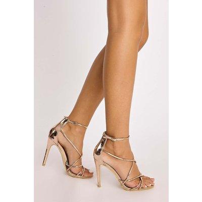 Rose Heels - Azalea Rose Gold Chrome Strappy Heels