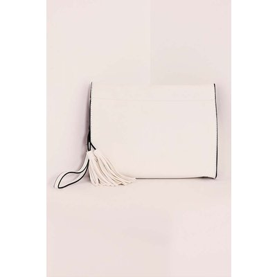 White Bags - White Faux Leather Boxy Clutch Bag